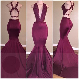 Sexy African Beaded Sequins Lace Burgundy Mermaid Prom Dresses Long 2017 Floor Length Open Back Party Dress Fast Shipping