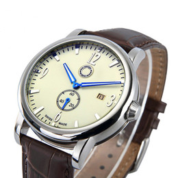 Good quality Popular Car Ben Logo men's boy 2 dials leather strap quartz waterproof Date Calendar watch small dial can work 606