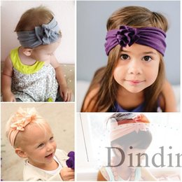 Wholesale 2016 Cotton Stretch Baby Headband Flower Hair Bands Bay Girl Hair Accessories color pick up