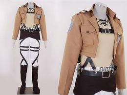 Traje de cuero completo en venta-Ataque a Titán Shingeki no Kyojin Eren Jaeger cosplay cosplay de cuero conjunto completo