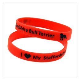 Wholesale Drop Shipping 100PCS Lot I Love My Staffordshire Bull Terrier Silicone Wristband Decoration Bracelet Adult Size