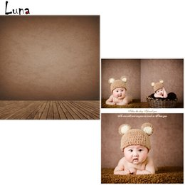 Wholesale 5x7ft Vinyl Backdrops for photo studio Brown Wall Photography Background Wood Floor For Children