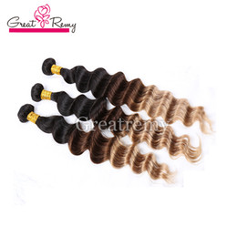 "8A 3pcs lot Indian Loose Deep Wave Hair Extensions Ombre Hair Dip Dye 3 Tone #1B 4 27 10""-30"" Hair Weave Weft"
