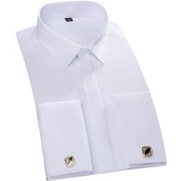 2017 boutons de manchette de smoking Vente en gros-2016 hommes 100% coton Tuxedo Chemise Française Cuff Formal Solid Chemise Chemise Chemises Chemise T0041 boutons de manchette de smoking offres