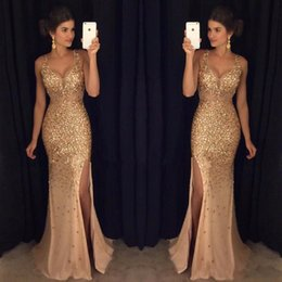 Gold Beaded Crystals Tulle Long Mermaid Prom Dresses Sexy V Neck Formal Party Gowns High Side Slit Celebrity Evening Dress Vestido de fiesta