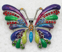 12pcs lot Wholesale Crystal Rhinestone Colorful Enameling Butterfly Brooches Fashion Costume Pin Brooch jewelry gift C158