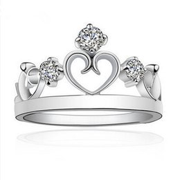2017 New Crown Rings for Women Sterling Silver Simulated Diamond Jewelry Heart Princess Crystal Ring Size