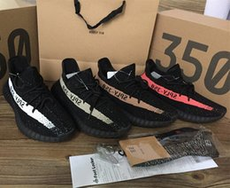 Wholesale 2017 NEW kanye west shoes SPLY v2 Boost Orang Stripe running shoes boost Sneakers colors size Keychain Socks Bag Receipt Boxes