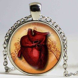 Wholesale Anatomical Heart Pendant Necklace Glass Art Print Jewelry Goth Pendant Anatomy Medical Pendant