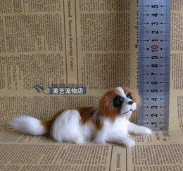 Wholesale Modelo de perro de la simulación x6cm artesanía plasticfur San Bernardo actitud propensa accesorios regalo de decoración de Navidad de juguete w5951