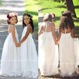 Boho Beach Halter Flower Girl Dresses 2019 White Ivory Lace Girls Kids Formal Dresses for Weddings Floor Length First Communion Gowns