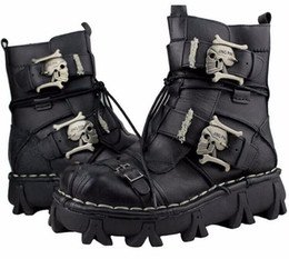 Wholesale 2017 new Motorcycle Gothic Skull shoes Cowhide Genuine Leather Military Uniform Boots Gothic Martin Platform Mid calf Boots Steampunk Shoes