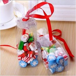Wholesale Pack Christmas Gift Bags Packaging Cute Christmas Tree Santa Claus Snow Shaped Eraser Stationery Supplies Prize