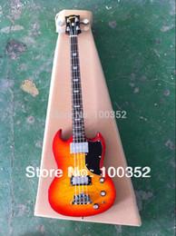 Descuento cuerpo sg Venta al por mayor-top fábrica personalizada SG 4 cuerdas G guitarra eléctrica baja acolchada maple cuerpo cherryburst color musical instrumento wholesaleretail