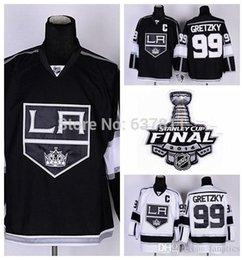 Promotion patch china pas cher Vente en gros LA Kings Hockey Jerseys Los Angeles # 99 Wayne Gretzky Jersey Accueil Black Road White Pas cher LA Kings Jersey C Patch Chine