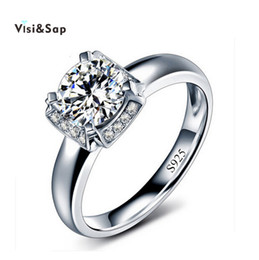 Visisap Rings For women Wedding bands engagement ring White gold color cubic zirconia Custom ring Bijoux vintage jewelry VSR092