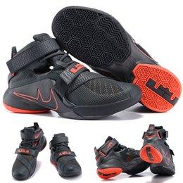 (Avec chaussures Box) NOUVEAU James LeBron Zoom Soldier 9 Gris Noir Lava 749490 008 Hommes chaussures taille 7-12 à partir de soldats lebron noir fournisseurs