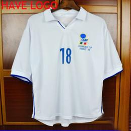 Wholesale 1998 World Cup Italy italia Retro jersey Baggio Maldini Del Piero Vieri white away jersey soccer football shirts maglie da calcio