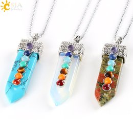 Wholesale CSJA Natural Round Stone Beads Chakra Pendant Necklace Sword Pendulum Charms Healing Yoga Jewellery Women Men Valentines Day Gift E332 B