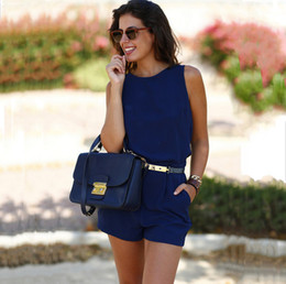 New Summer Sleeveless Short Jumpsuit With Pocket Elegant Ladies Party Romper O-Neck Backless Jumpsuits Blue Red Yellow Playsuit ZSJF0448
