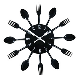 Wholesale Modern DIY Wall Clock Stainless steel Wall Watch Quartz Knife Fork Spoon Home Office Decor