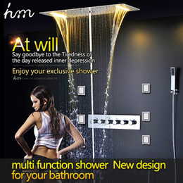 bathroom stainless steel shower head 5 function electronic led rain shower system with