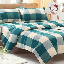 Wholesale 4 Pieces sets Cotton Lattice Bedding Set King Size Bedcover D Bedding Set Luxury Quilt Cover Sets