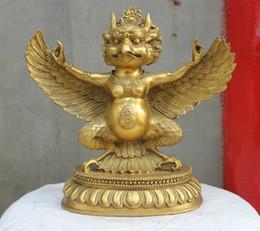 "11"" China Tibetan Buddhism Bronze Redpoll Winged Garuda Bird Eagle Buddha Statue"