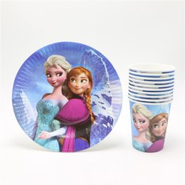 Wholesale New Anna cartoon kids girls birthday decoration disposable baby shower event party favors paper cups glass plates supplies