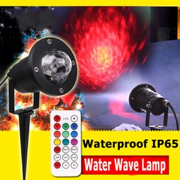 Wholesale Remote LED Spotlight Projector LED Water Wave Effect Light W for Party lawn colors Christmas flame Marine landscape Projector