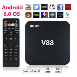 Complète android à vendre-V88 Android 6.0 BOITE DE TV Rockchip RK3229 1G 8G H.265 Lecteur multimédia Téléviseurs OTT VS M8S Amlogic S905X A95X R1