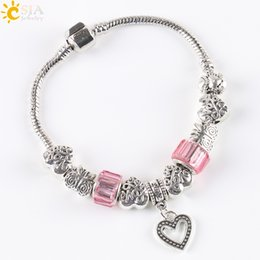 Wholesale CSJA Friendship Chain Women Pink Bangle Charm Bracelets Antique Silver Plate Love Heart Pendant Butterfly Beaded Jewelry E140