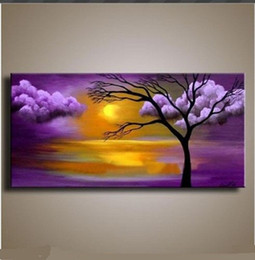 Framed Pure HandPainted contemporary Huge Abstract Wall Decor Landscape Tree Cloud Art Oil Painting On High Quality Canvas.Multi sizes Ab004