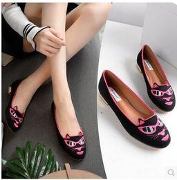 Broderie chaussures plates à vendre-2017 nouvelles femmes chaussures cool chat tête de chat tête de chat plats peu profonde bouche ronde chaussures femmes de tête Livraison gratuite