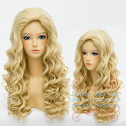 New Vogue Sexy Women's Long Blonde Cosplay Party Curly Wigs Fashion Girls Wig free shipping