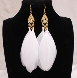 Long Feather Earrings Women Large Crystal Earrings Black White Blue Fashion Jewelry For Women Vintage Tassels Earrings 18K Gold Plated