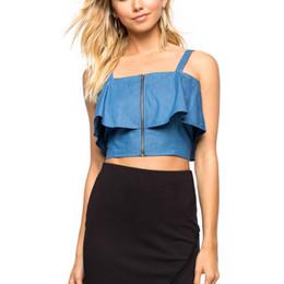 Camisas novas do partido à venda-Hot New Verão Women's Denim Crop Tops Ladies Casual Ruffle Blusa Frente Zip Tank Top Backless Sexy Party Club Camisa Z1