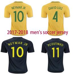 free shipping top thai quality 17 18 Brazil Soccer Jerseys Camisa de futebol Neymar Jr Oscar Silva Pele Coutinho Marcelo Football Shirt