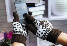 Wholesale 50 pairs Snowflower Touch Screen Magic Gloves Unisex Male Female Stretch Knitted Gloves Mittens Hot Warm Accessories