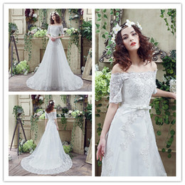 Lace 2018 Women Bride Wedding Dresses Off-the-shoulder Long Train Tiers Appliques Ribbion Lady Bridal Party Pageant Catwalk Dress