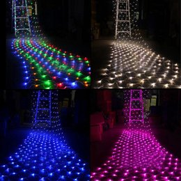 Promotion rgb led net Grossiste-Romantique 1.5mx1.5M LED Lumière de Noël arbre de fête de mariage Fée String Lumière Décoration murale Net Net Mesh rideau + EU / US Plug