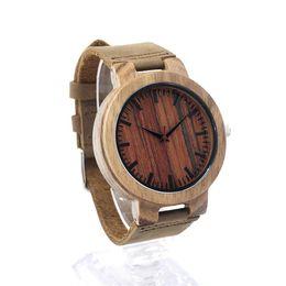 2017 les brunes Dark Brown Mens Montres Femmes en bois avec bracelet en cuir Japonais Miyota 2035 Quartz Mouvement Montre-bracelet ronde SY-WD266 les brunes ventes