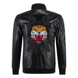Wholesale Best Price Autumn Winter Luxury New Arrived Men s Tiger Head P Big Skull Motorcycle Leather Warm Cotton Jacket Coat M XL