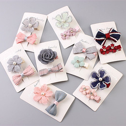 Hot Candy Color Solid Dot Flower Print Ribbon Bow Hairpin BB Hair Clips for Kids Hair Accessories Lovely Hair Clip