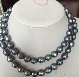 Wholesale 12-13mm Natural South Sea Black Blue Pearl Necklace 17inch 18inch 14k Gold Clasp