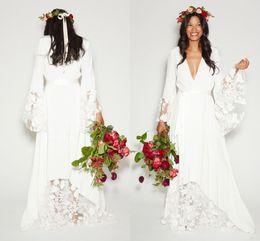 2019 Simple Bohemian Country Wedding Dresses Deep V Neck Long Sleeves Floor Length Summer Beach Bridal Plus Size Boho Wedding Gown