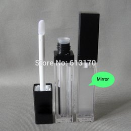 Free shipping 8ml lip gloss tubes DIY lip balm bottle with Mirror,Black cap,Square Lip stick packing container,Empty 50pcs lot