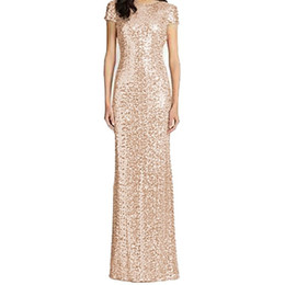 Long Bridesmaid Dresses Rose Gold Sequins Mermaid Short Sleeves High Back 2020 Party Gowns Champagne Burgundy Maid of Honor Gowns