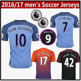 Wholesale new men s Manchester City Jerseys DZEKO KUN AGUERO KOMPANY TOURE YAYA DE BRUYNE Home Away RD Shirt