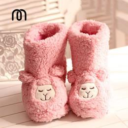 Promotion pantoufles chaussures mignonnes Grossiste-hiver japonais mignon petit mouton alpaga pantoufles en peluche chaudes bottes de coton à la maison chaussures pantoufle femme Livraison gratuite